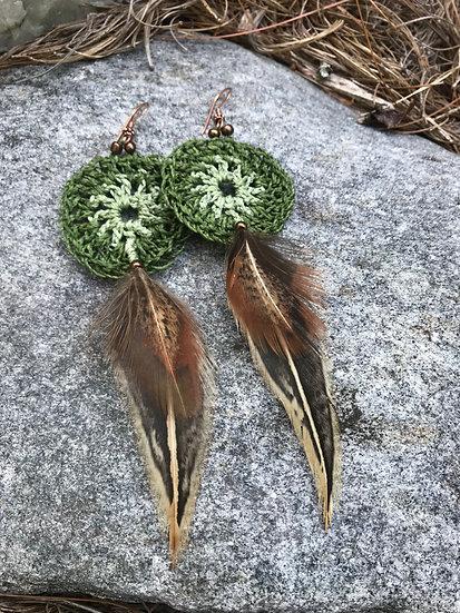 green crochet long feather earrings