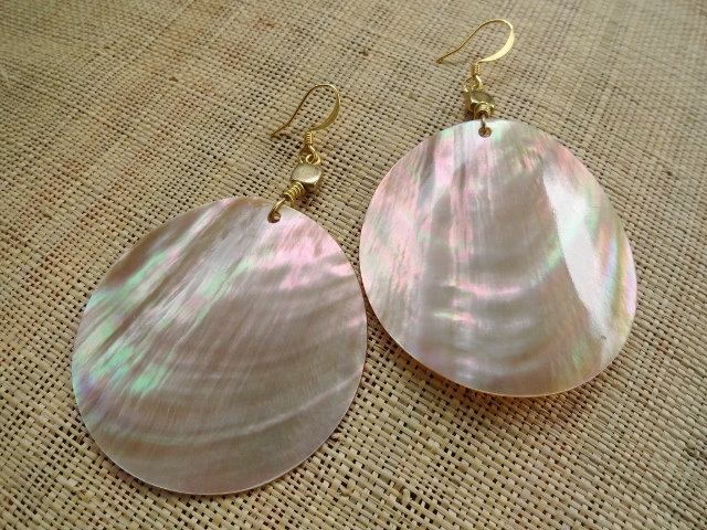 Mother of Pearl Large Drop Exotic Shell Earrings