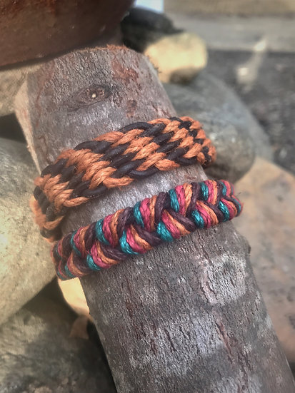 leather & flax natural bracelets