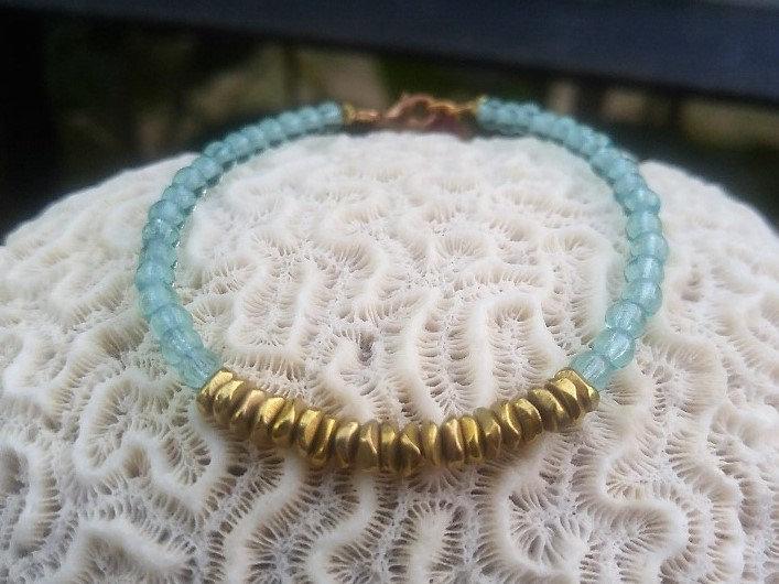 Brass & Aqua Chic Glass Bead Bracelet