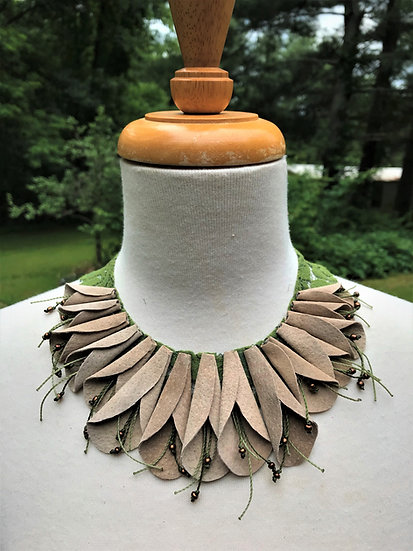 suede petal leather necklace