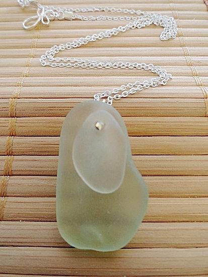 layered white & seafoam green genuine sea glass necklace