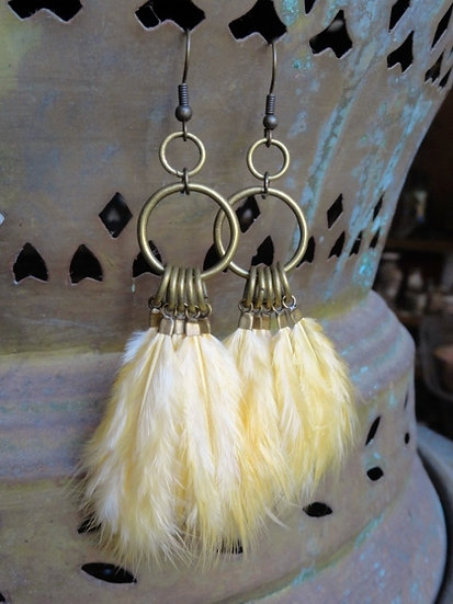 long yellow feather earrings