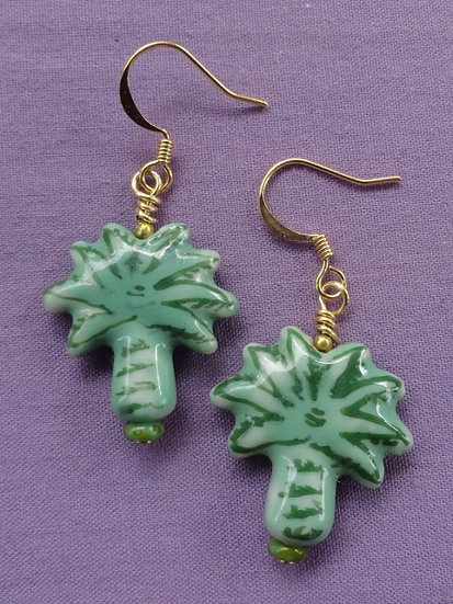 Affordable Green Ceramic Palm Tree Earrings