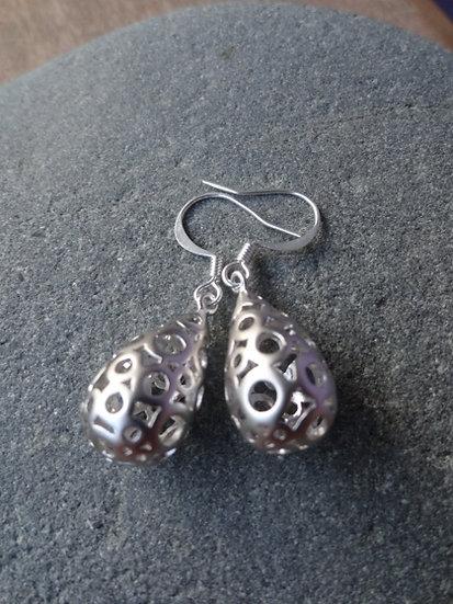 Chic Polka Dot Teardrop Matte Silver Earrings