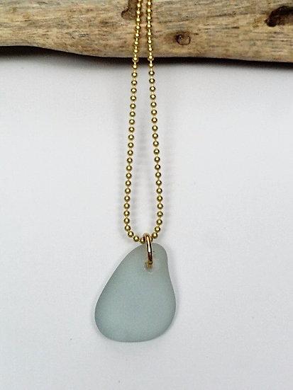 gold chain & sea foam teardrop sea glass necklace