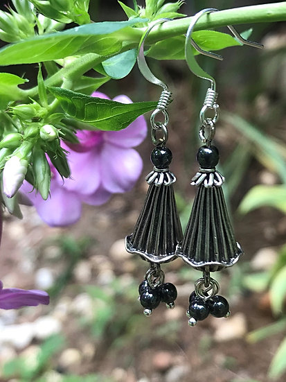 black hematite & small silver flower earrings