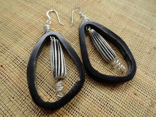 big natural horn & bone earrings