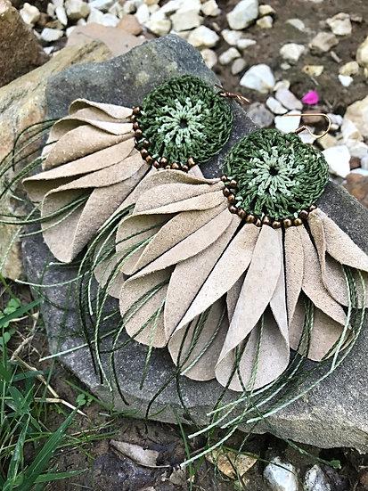 green crochet leather flower earrings
