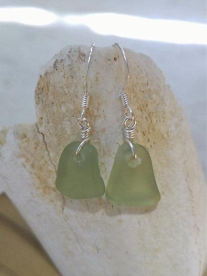 Chic Small Teardrop Seafoam Sea Glass Earrings