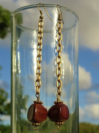 Sexy Long Dangle Chain & Natural Wood Earrings