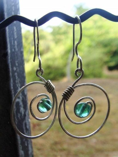 Chic Silver Hoop Seafoam Green Glass Bead Earrings