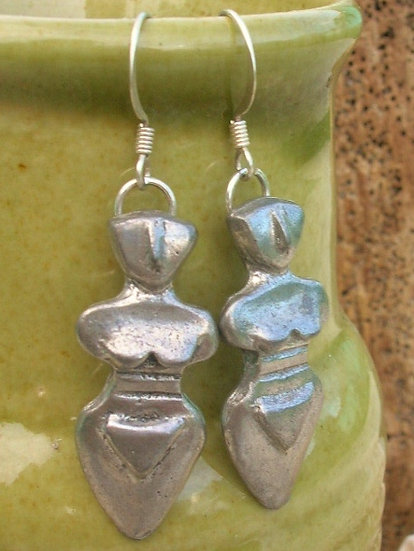 Affordable Small Pewter Love Goddess Earrings