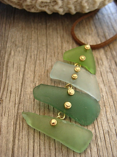 long fishbone sea glass necklace