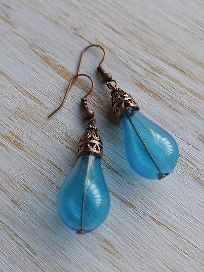 Chic Turquoise Teardrop Artisan Glass Bead Earrings