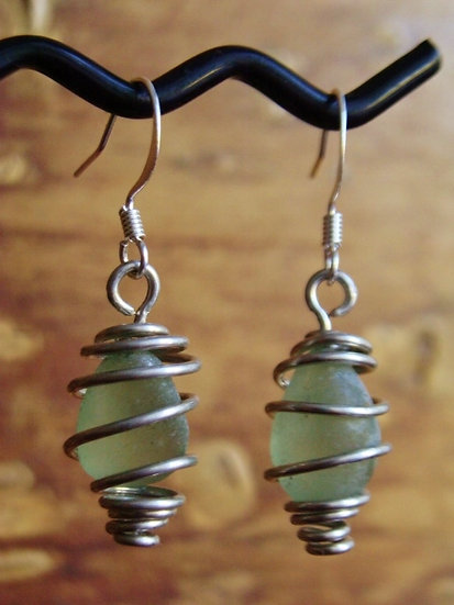 Caged Small Seafoam Affordable Sea Glass Earrings