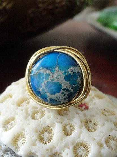 Chic Gold Bird's Nest Blue Jasper Gemstone Ring