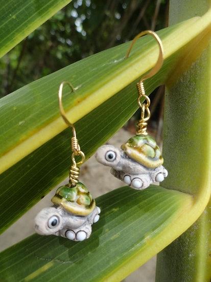 Cute Ceramic Turtle Artisan Bead Kid Earrings