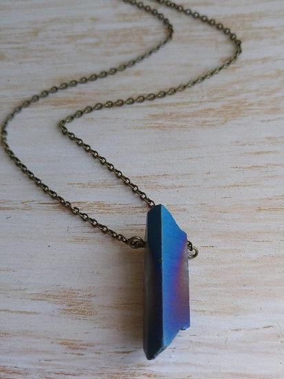 Chic Blue Pyrite Stone Long Pendant Necklace
