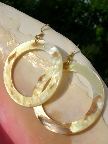Mother of Pearl Large Hoop Natural Shell Earrings