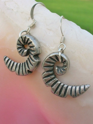Small Pewter Metal Nautilus Shell Earrings