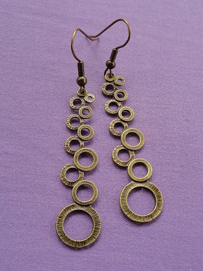 Cascading Circle Antiqued Brass Metal Earrings