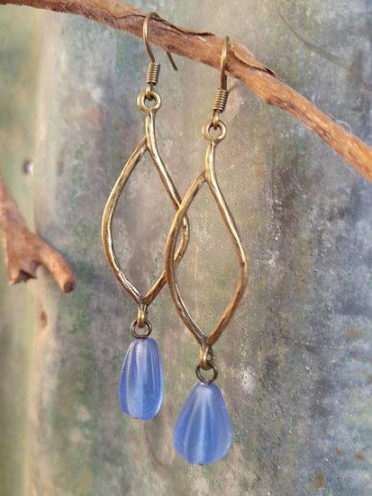 Long Dangle Brass Leaf & Blue Glass Bead Earrings