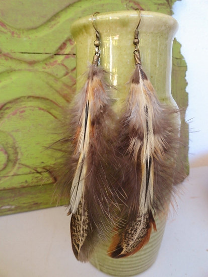 long brown natural feather earrings