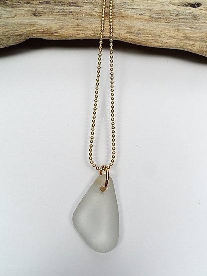 Chic White Affordable Sea Glass Necklace