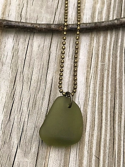 men's olive sea glass necklace