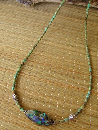Turquoise Stone & Abalone Shell Natural Necklace