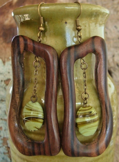 Exotic Long Ceramic Bead & Natural Wood Earrings