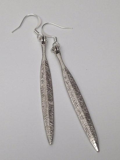 long silver feather earrings