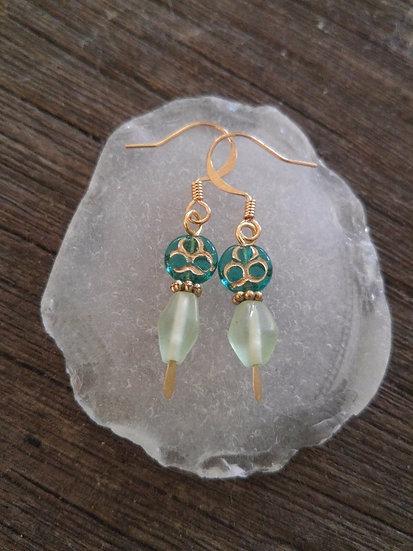 Chic Small Green Flower & Seafoam Glass Bead Earrings
