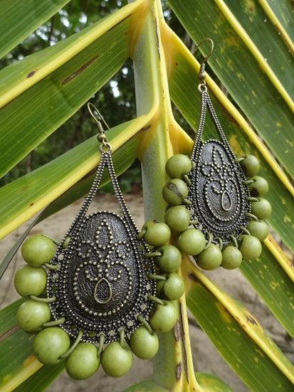 Long Brass Teardrop Acai Nut Natural Seed Earrings