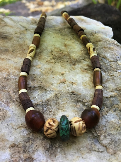 natural wood bone horn & turquoise surf necklace
