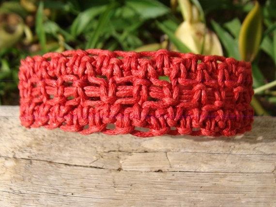 coral red macrame surf bracelet