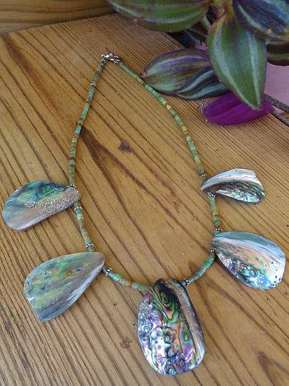 Natural Turquoise Gemstone & Abalone Shell Necklace