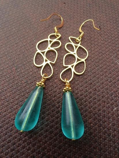 Sexy Long Gold Leaf & Aqua Glass Teardrop Earrings