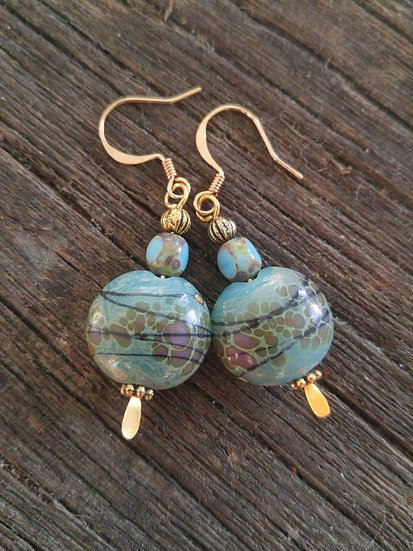 Chic Small Turquoise Artisan Glass Bead Earrings