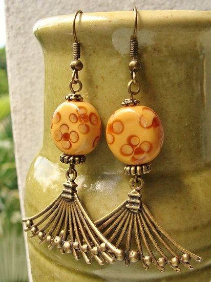 Artisan Glass Bead & Antiqued Brass Metal Earrings