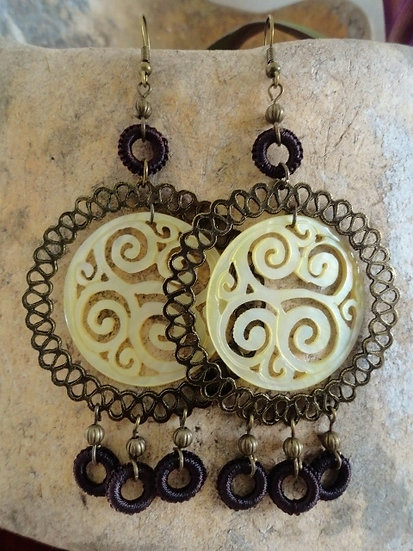 Sexy Chandelier Dangle Carved MOP Shell Earrings