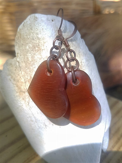 Carved Horn Heart Small Drop Natural Earrings