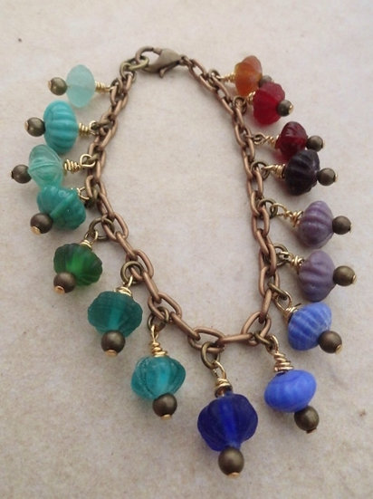 Chic Brass Chain Rainbow Glass Bead Bracelet