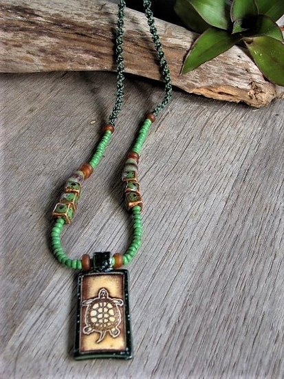 Long Non-Metal Macrame Ceramic Turtle Necklace