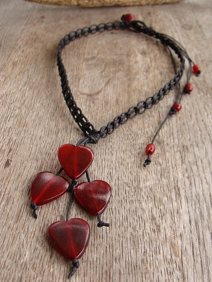 Nonmetal Black Macrame Red Horn Cascading Heart Necklace