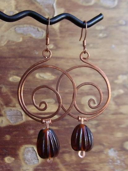 Chic Copper Hoop Brown Glass Bead Earrings