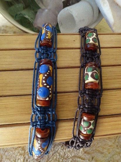 Ceramic Trade Bead Macrame Surfer Bracelets