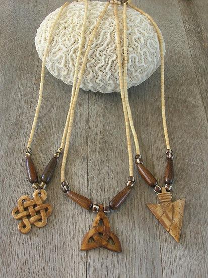 Celtic knot, triquetra & arrowhead carved bone necklaces