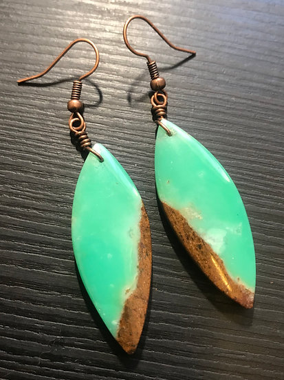 chrysocolla stone earrings